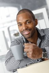 image of black guy with coffee