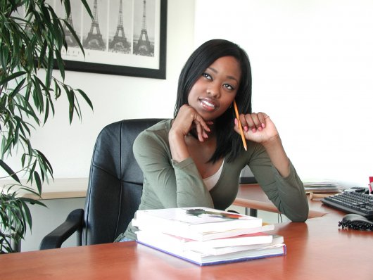 image of black woman first day at work